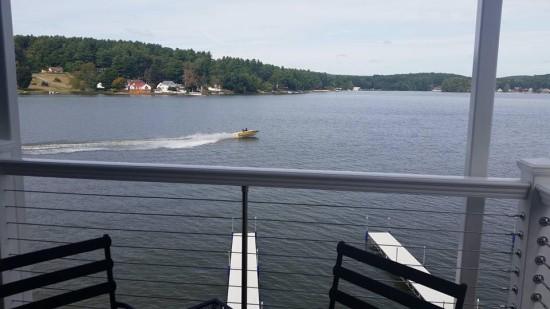 Enjoy a view of Lake Lashaway while dining at 308 Lakeside